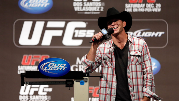 "LAS VEGAS, NV - DECEMBER 28:  Donald ""Cowboy"" Cerrone interacts with fans during a Q&A session before the UFC 155 weigh-in on December 28, 2012 at MGM Grand Garden Arena in Las Vegas, Nevada. (Photo by Josh Hedges/Zuffa LLC/Zuffa LLC via Getty Images)"