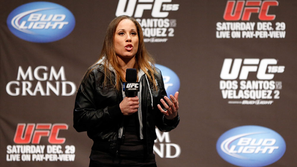 LAS VEGAS, NV - DECEMBER 28:  Liz Carmouche interacts with fans during a Q&A session before the UFC 155 weigh-in on December 28, 2012 at MGM Grand Garden Arena in Las Vegas, Nevada. (Photo by Josh Hedges/Zuffa LLC/Zuffa LLC via Getty Images)