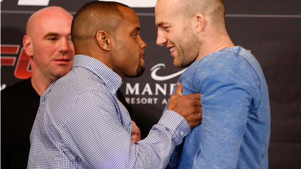 LAS VEGAS, NV - FEBRUARY 20:  (L-R) Daniel Cormier shoves opponent Patrick Cummins during the final UFC 170 pre-fight press conference at the Mandalay Bay Resort and Casino on February 20, 2014 in Las Vegas, Nevada. (Photo by Josh Hedges/Zuffa LLC/Zuffa L