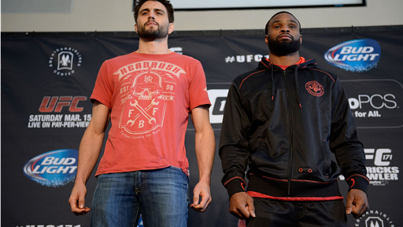 DALLAS, TX - MARCH 13:  (L-R) Carlos Condit and Tyron Woodley pose for the media during the UFC 171 Ultimate Media Day at American Airlines Center on March 13, 2014 in Dallas, Texas. (Photo by Jeff Bottari/Zuffa LLC/Zuffa LLC via Getty Images)