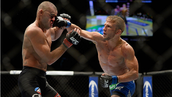LAS VEGAS, NV - MAY 24:  T.J. Dillashaw punches Renan Barao in their bantamweight championship bout during the UFC 173 event at the MGM Grand Garden Arena on May 24, 2014 in Las Vegas, Nevada. (Photo by Jeff Bottari/Zuffa LLC/Zuffa LLC via Getty Images)
