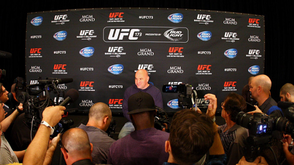 LAS VEGAS, NV - MAY 22:   UFC President Dana White speaks to the media during the UFC 173 Ultimate Media Day at the MGM Grand Garden Arena on May 22, 2014 in Las Vegas, Nevada. (Photo by Brandon Magnus/Zuffa LLC/Zuffa LLC via Getty Images)