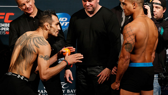 LAS VEGAS, NV - DECEMBER 05:  (L-R) Opponents Tony Ferguson and Abel Trujillo face off during the UFC 181 weigh-in inside the Mandalay Bay Events Center on December 5, 2014 in Las Vegas, Nevada.  (Photo by Josh Hedges/Zuffa LLC/Zuffa LLC via Getty Images)
