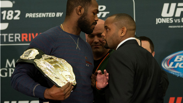 LAS VEGAS, NEVADA - JANUARY 01:  (L-R) UFC light heavyweight champion Jon Jones and Daniel Cormier face off during the UFC 182 Media Day at the MGM Grand Hotel and Casino on January 1, 2015 in Las Vegas, Nevada. (Photo by Brandon Magnus/Zuffa LLC/Zuffa LL