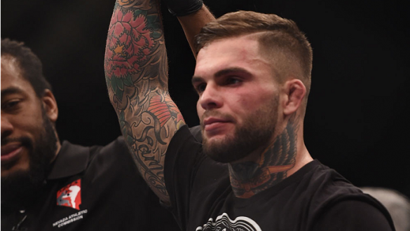 LAS VEGAS, NV - JANUARY 03:  Cody Garbrandt celebrates his win over Marcus Brimage in their bantamweight bout during the UFC 182 event at the MGM Grand Garden Arena on January 3, 2015 in Las Vegas, Nevada.  (Photo by Jeff Bottari/Zuffa LLC/Zuffa LLC via G