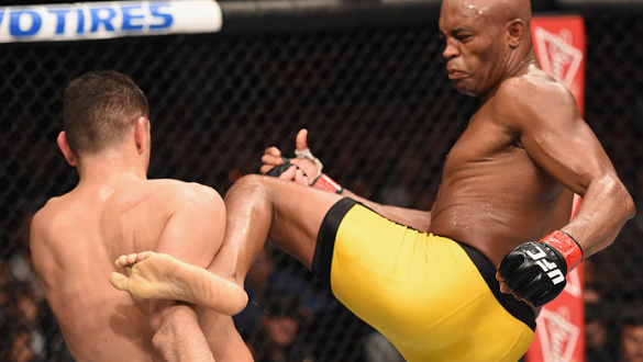 LAS VEGAS, NV - JANUARY 31:  (R-L)  Anderson Silva kicks Nick Diaz in their middleweight bout during the UFC 183 event at the MGM Grand Garden Arena on January 31, 2015 in Las Vegas, Nevada.  (Photo by Josh Hedges/Zuffa LLC/Zuffa LLC via Getty Images) ***