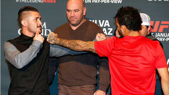 LAS VEGAS, NEVADA - JANUARY 29:  (L-R) Opponents Ian McCall and John Lineker of Brazil face off during the UFC 183 Ultimate Media Day at the MGM Grand Hotel/Casino on January 29, 2015 in Las Vegas, Nevada. (Photo by Josh Hedges/Zuffa LLC/Zuffa LLC via Get