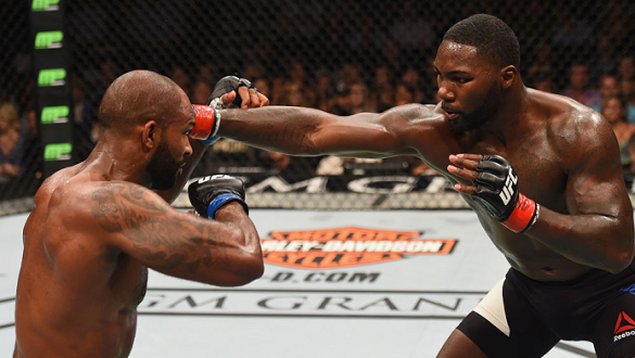 LAS VEGAS, NV - SEPTEMBER 05: (R-L) Anthony Johnson punches Jimi Manuwa in their light heavyweight bout during the UFC 191 event inside MGM Grand Garden Arena on September 5, 2015 in Las Vegas, Nevada.  (Photo by Josh Hedges/Zuffa LLC/Zuffa LLC via Getty