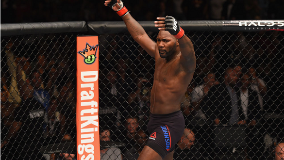 LAS VEGAS, NV - SEPTEMBER 05:  Anthony Johnson reacts to his knockout victory over Jimi Manuwa in their light heavyweight bout during the UFC 191 event inside MGM Grand Garden Arena on September 5, 2015 in Las Vegas, Nevada.  (Photo by Josh Hedges/Zuffa L