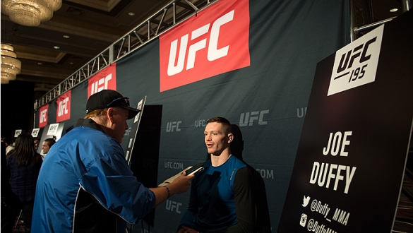 LAS VEGAS, NEVADA - DECEMBER 31:  Joe Duffy speaks to the media during the Ultimate Media Day at the MGM Grand Hotel/Casino on December 31, 2015 in Las Vegas Nevada. (Photo by Brandon Magnus/Zuffa LLC/Zuffa LLC via Getty Images)