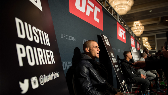 LAS VEGAS, NEVADA - DECEMBER 31:  Dustin Poirier speaks to the media during the Ultimate Media Day at the MGM Grand Hotel/Casino on December 31, 2015 in Las Vegas Nevada. (Photo by Brandon Magnus/Zuffa LLC/Zuffa LLC via Getty Images)