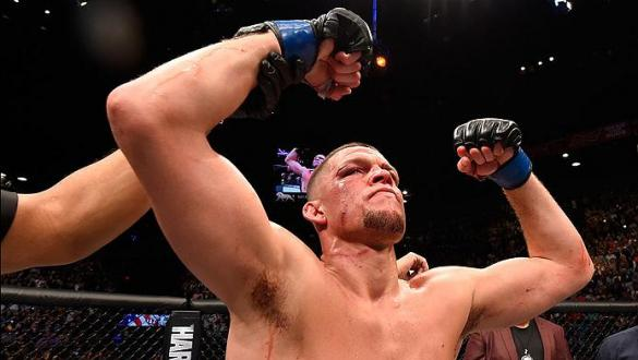 LAS VEGAS, NV - MARCH 05: Nate Diaz reacts to his victory over Conor McGregor of Ireland in their welterweight bout during the UFC 196 event inside MGM Grand Garden Arena on March 5, 2016 in Las Vegas, Nevada.  (Photo by Josh Hedges/Zuffa LLC/Zuffa LLC vi