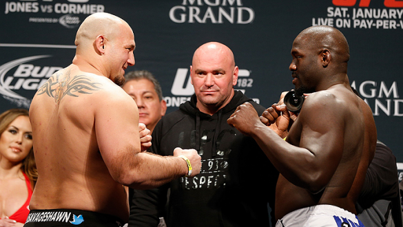LAS VEGAS, NV - JANUARY 02:  (L-R) Opponents Shawn Jordan and Jared Cannonier face off during the UFC 182 weigh-in event at the MGM Grand Conference Center on January 2, 2015 in Las Vegas, Nevada. (Photo by Josh Hedges/Zuffa LLC/Zuffa LLC via Getty Images
