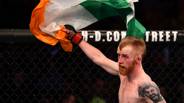 BOSTON, MA - JANUARY 18:  Paddy Holohan reacts after defeating Shane Howell in their flyweight fight during the UFC Fight Night event at the TD Garden on January 18, 2015 in Boston, Massachusetts. (Photo by Jeff Bottari/Zuffa LLC/Zuffa LLC via Getty Image