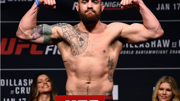 BOSTON, MA - JANUARY 16:  Travis Browne weighs in during the UFC weigh-in at the Wang Theatre on January 16, 2016 in Boston, Massachusetts. (Photo by Jeff Bottari/Zuffa LLC/Zuffa LLC via Getty Images)