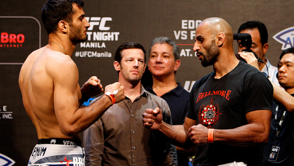 PASAY, METRO MANILA, PHILIPPINES - MAY 15: (L and R) Gegard Mousasi and Costas Philippou face-off during the UFC weigh-in event at the Mall of Asia Arena on May 15, 2015 in Pasay, Metro Manila, Philippines. (Photo by Mitch Viquez/Zuffa LLC/Zuffa LLC via G