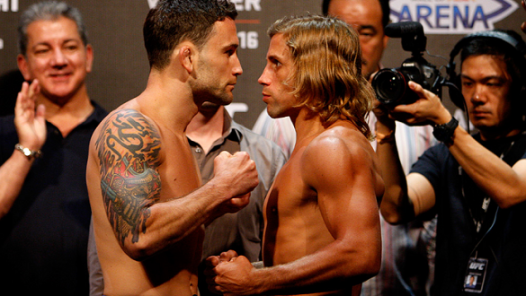 PASAY, METRO MANILA, PHILIPPINES - MAY 15: (L and R) Frankie Edgar and Urijah Faber face-off during the UFC weigh-in event at the Mall of Asia Arena on May 15, 2015 in Pasay, Metro Manila, Philippines. (Photo by Mitch Viquez/Zuffa LLC/Zuffa LLC via Getty