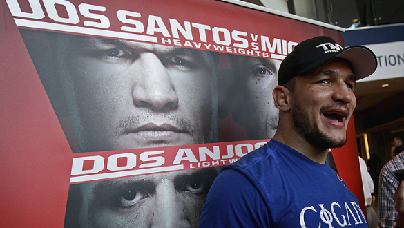 PHOENIX, AZ - DECEMBER 10:  Number 2-ranked UFC heavyweight contender Junior Dos Santos laughs as he talks with the media during UFC Fight Night open workouts at U.S. Airways Center on December 10, 2014 in Phoenix, Arizona.  (Photo by Ralph Freso/Zuffa LL