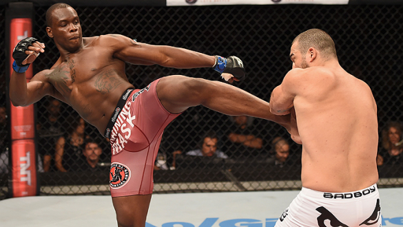 UBERLANDIA, BRAZIL - NOVEMBER 08:  Ovince Saint Preux of the United States kicks Mauricio Shogun Rua of Brazil in their light heavyweight bout during the UFC Fight Night at Sabiazinho Gymnasium on November 8, 2014 in Uberlandia, Brazil.  (Photo by Buda Me