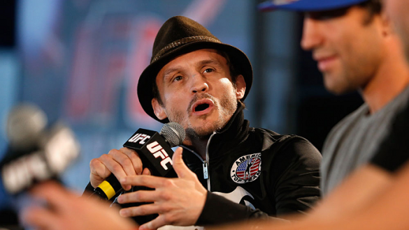 BERLIN, GERMANY - MAY 30:  Brad Pickett answers questions of the media after the UFC weigh-in at O2 World on May 30, 2014 in Berlin, Germany.  (Photo by Boris Streubel/Zuffa LLC/Zuffa LLC via Getty Images)