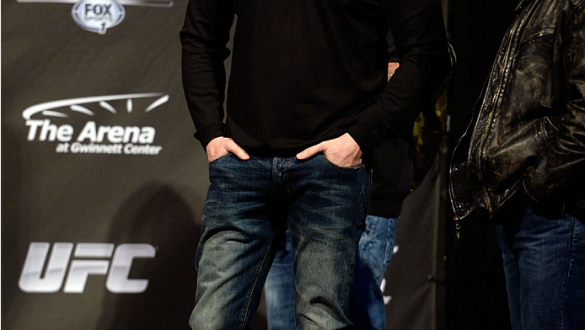 DULUTH, GEORGIA - JANUARY 14:  UFC President Dana White stands on stage during the UFC Fight Night weigh-in event at the Arena at Gwinnett Center on January 14, 2014 in Duluth, Georgia. (Photo by Jeff Bottari/Zuffa LLC/Zuffa LLC via Getty Images)