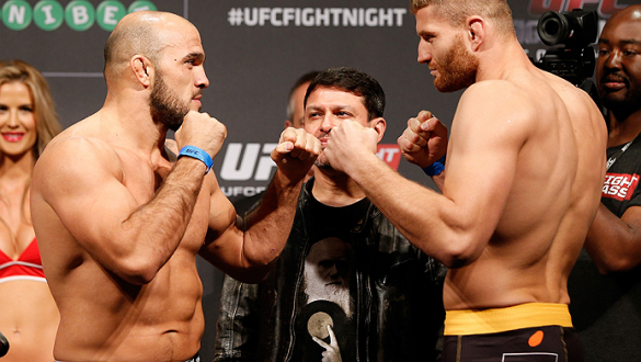 STOCKHOLM, SWEDEN - OCTOBER 03:  (L-R) Opponents Ilir Latifi of Sweden and Jan Blachowicz of Poland face off during the UFC weigh-in at the Ericsson Globe Arena on October 3, 2014 in Stockholm, Sweden.  (Photo by Josh Hedges/Zuffa LLC/Zuffa LLC)
