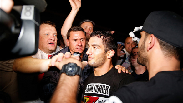 BERLIN, GERMANY - MAY 31:  Gegard Mousasi (C) poses with fans after winning the Gegard Mousasi vs. Mark Munoz match at UFC Fight Night Berlin event at O2 World on May 31, 2014 in Berlin, Germany. (Photo by Boris Streubel/Zuffa LLC/Zuffa LLC via Getty Imag