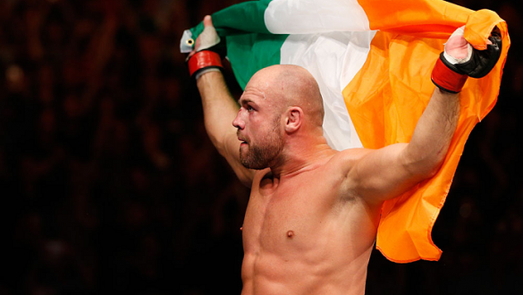 DUBLIN, IRELAND - JULY 19:  Cathal Pendred celebrates after his submission victory over Mike King in their middleweight bout during the UFC Fight Night event at The O2 Dublin on July 19, 2014 in Dublin, Ireland.  (Photo by Josh Hedges/Zuffa LLC/Zuffa LLC