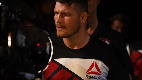 GLASGOW, SCOTLAND - JULY 18:  Michael Bisping of England enters the arena before his middleweight fight against Thales Leites of Brazil during the UFC Fight Night event inside the SSE Hydro on July 18, 2015 in Glasgow, Scotland.  (Photo by Josh Hedges/Zuf