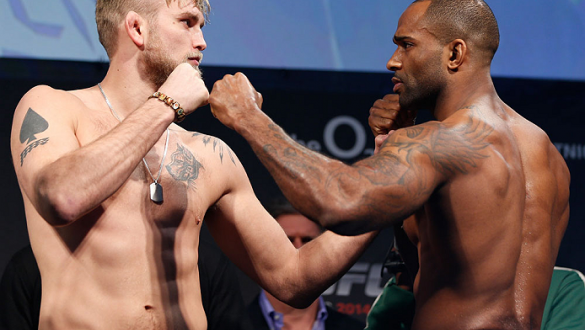 LONDON, ENGLAND - MARCH 07:  (L-R) Opponents Alexander Gustafsson and Jimi Manuwa face off during the UFC weigh-in event at the O2 Arena on March 7, 2014 in London, England. (Photo by Josh Hedges/Zuffa LLC/Zuffa LLC via Getty Images)