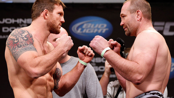 CHICAGO, IL - JANUARY 25:  (L-R) Opponents Ryan Bader and Vladimir Matyushenko face off during the UFC on FOX weigh-in on January 25, 2013 at the Chicago Theatre in Chicago, Illinois. (Photo by Josh Hedges/Zuffa LLC/Zuffa LLC via Getty Images)