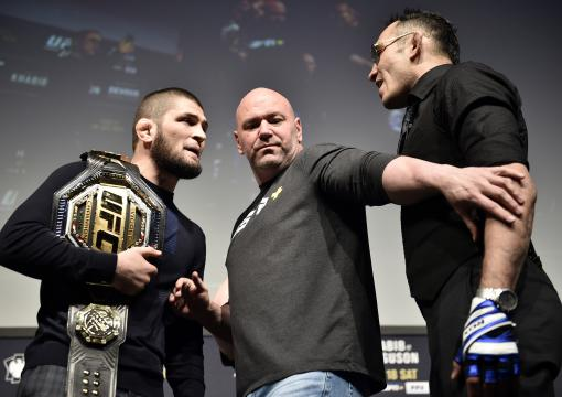 Khabib Nurmagomedov and Tony Ferguson face off during the UFC 249 press conference at T-Mobile Arena on March 06, 2020 in Las Vegas, Nevada. (Photo by Chris Unger/Zuffa LLC)