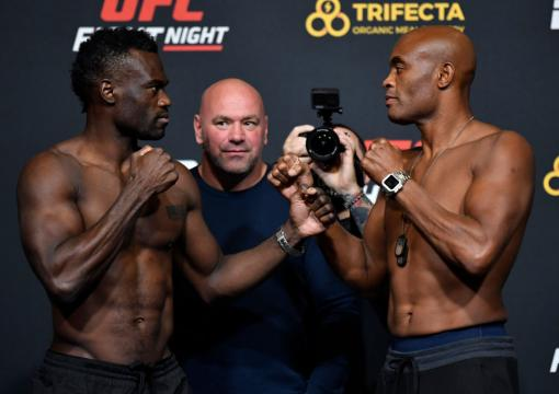 LAS VEGAS, NEVADA - OCTOBER 30: (L-R) Opponents Uriah Hall of Jamaica and Anderson Silva of Brazil face off during the UFC Fight Night weigh-in at UFC APEX on October 30, 2020 in Las Vegas, Nevada. (Photo by Jeff Bottari/Zuffa LLC)