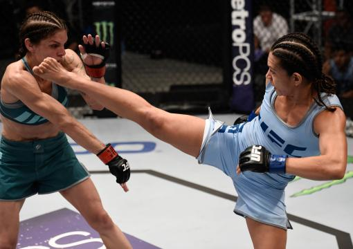 LAS VEGAS, NV - JULY 27:  (R-L) Nicco Montano kicks Lauren Murphy during the filming of The Ultimate Fighter: A New World Champion at the UFC TUF Gym on July 27, 2017 in Las Vegas, Nevada. (Photo by Brandon Magnus/Zuffa LLC via Getty Images)