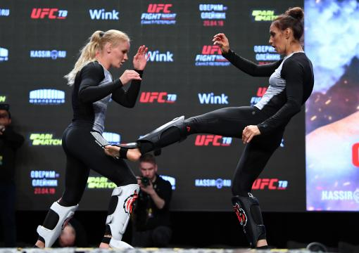 Antonina Shevchenko of Kyrgyzstan performs an open workout for fans and media with her sister Valentina Shevchenko during the UFC Fight Night Open Workouts event at A2 Green Concert Hall on April 17, 2019 in Saint Petersburg, Russia. (Photo by Jeff Bottari/Zuffa LLC/Zuffa LLC via Getty Images)