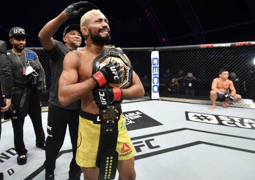Deiveson Figueiredo of Brazil celebrates after defeating Joseph Benavidez in their UFC flyweight championship bout during the UFC Fight Night event inside Flash Forum on UFC Fight Island on July 19, 2020 in Yas Island, Abu Dhabi, United Arab Emirates. (Photo by Jeff Bottari/Zuffa LLC via Getty Images)