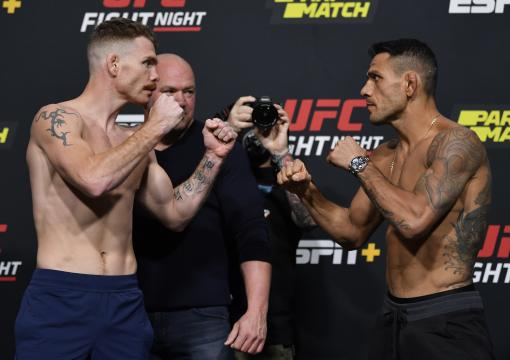 Opponents Paul Felder and Rafael Dos Anjos of Brazil face off during the UFC weigh-in at UFC APEX on November 13, 2020 in Las Vegas, Nevada. (Photo by Jeff Bottari/Zuffa LLC)