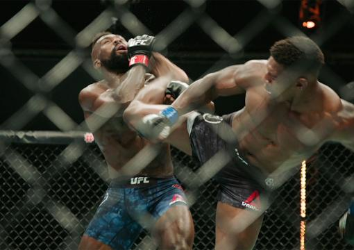 Joaquin Buckley knocks out Impa Kasanganay in their middleweight bout during the UFC Fight Night event inside Flash Forum on UFC Fight Island on October 11, 2020 in Abu Dhabi, United Arab Emirates