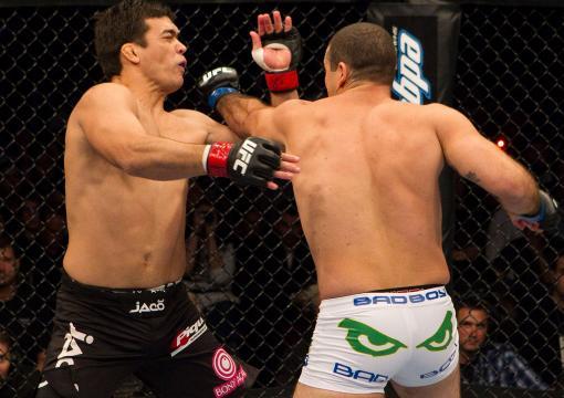 "Mauricio ""Shogun"" Rua (white shorts) def. Lyoto Machida (black shorts) - KO - 3:35 round 1 during UFC 113 at Bell Centre on May 8, 2010 in Montreal, Quebec, Canada. (Photo by Josh Hedges/Zuffa LLC)"