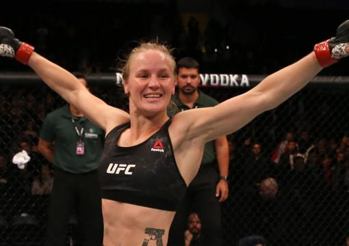 Valentina Shevchenko of Kyrgyzstan celebrates after her victory over Liz Carmouche in their UFC women's flyweight championship fight during the UFC Fight Night event at Antel Arena on August 10, 2019 in Montevideo, Uruguay. (Photo by Alexandre Schneider/Zuffa LLC)