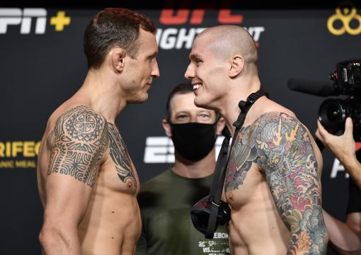 Jack Hermansson of Sweden and Marvin Vettori of Italy face off during the UFC Fight Night weigh-in at UFC APEX on December 04, 2020 in Las Vegas, Nevada. (Photo by Chris Unger/Zuffa LLC)