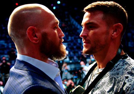 Conor McGregor & Dustin Poirier Face off at the UFC 257 pre-fight press conference