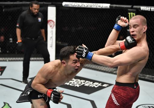 Punahele Soriano punches Dusko Todorovic of Serbia in a middleweight bout during the UFC Fight Night event at Etihad Arena on UFC Fight Island on January 17, 2021 in Abu Dhabi, United Arab Emirates.