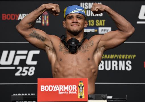 Gilbert Burns of Brazil poses on the scale during the UFC weigh-in at UFC APEX on February 12, 2021 in Las Vegas, Nevada. (Photo by Jeff Bottari/Zuffa LLC)