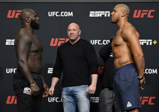 Jairzinho Rozenstruik of Suriname and Ciryl Gane of France face off during the UFC weigh-in at UFC APEX on February 26, 2021 in Las Vegas, Nevada. (Photo by Jeff Bottari/Zuffa LLC)