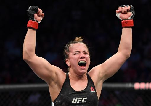Maycee Barber celebrates her TKO victory over JJ Aldrich in their women's flyweight bout during the UFC Fight Night event at Bridgestone Arena on March 23, 2019 in Nashville, Tennessee. (Photo by Jeff Bottari/Zuffa LLC)