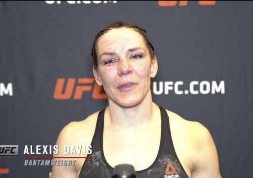 Alexis Davis reacts after her unanimous decision over bantamweight Sabina Mazo at UFC Fight Night: Rozenstruik vs Gane on February 27, 2021.