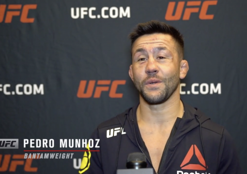Pedro Munhoz reacts with UFC.com after his unanimous decision victory over bantamweight Jimmie Rivera at UFC Fight Night: Rozenstruik vs Gane on February 27, 2021.