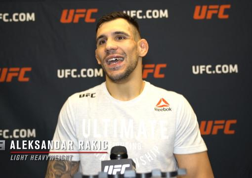 Aleksandar Rakic reacts with UFC.com after his unanimous decision victory over light heavyweight Thiago Santos at UFC 259: Blachowicz vs Adesanya on March 6, 2021.