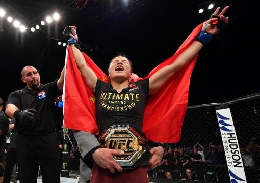 Zhang Weili of China celebrates after her knockout victory over Jessica Andrade of Brazil in their UFC strawweight championship bout during the UFC Fight Night event at Shenzhen Universiade Sports Centre on August 31, 2019 in Shenzhen, China. (Photo by Brandon Magnus/Zuffa LLC)
